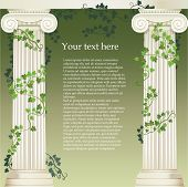stock photo of ionic  - Composition with  two Ionic columns entwined with ivy and free space inside - JPG