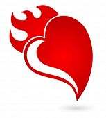 heart with flame concept icon