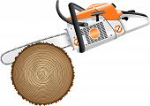 stock photo of chainsaw  - cutting trees chainsaw lumberjack action industry power - JPG