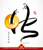 Vector Snake Calligraphy, Chinese New Year 2013, Translation: Snake
