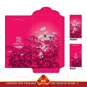 Chinese New Year Red Packet (Ang Pau) Design with Die-cut. Year of Snake. Translation: Snake Dancing and Celebrating the New Year