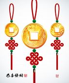 Vector Chinese Copper Coins with Ru Yi Stitch, Translation: Prosperity