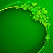 image of saint patrick  - Irish four leaf lucky clovers background for Happy St - JPG