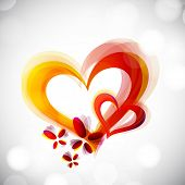 Happy Valentine's Day greeting card, gift card or greeting card with yellow and red hearts on grey background. EPS 10.