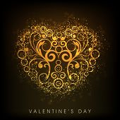 Happy Valentine's Day greeting card, gift card or greeting card with golden floral decorated heart o