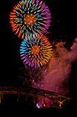 Fireworks at the hohenzollern bridge
