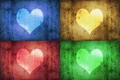 Coloured Grunge Hearts