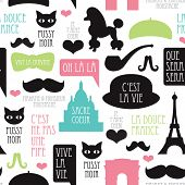 stock photo of pussy  - Seamless paris moustache mustache poodle pattern french background in vector - JPG
