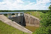 image of 24th  - Taylorsville Dam in VandaliaOhio built in 1922 showing signs of needed repair.Photo taken on July 24th 2008.  - JPG