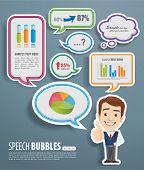 Speech Bubbles with businessman