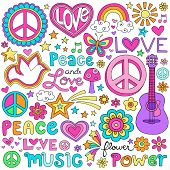 Peace Love and a Dove Flower Power Groovy Psychedelic Notebook Doodles Set with Butterfly, Peace Sign, Acoustic Guitar, Rainbow, Hearts, and More
