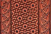 stock photo of bordure  - Carvings in red sandstone  - JPG