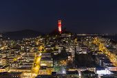 SAN FRANCISCO, CALIFORNIA - JAN 13:  Coit tower at night. San Francisco's board of Supervisors appro