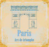 Hand Drawn Vector Illustration Of Paris Triumph Arc -  Grunge Background