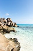 Beach of the island of La Digue. Seychelles