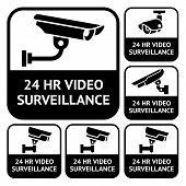 CCTV labels, set symbols video surveillance