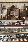stock photo of gun shop  - Weapons displayed in gun shop - JPG