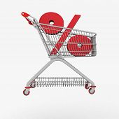 shopping cart with sign of percentage inwardly. 3d render isolated