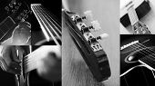 Closeup black and white pictures of a guitar in different angles