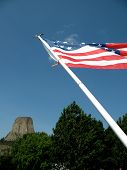 USA flag at Devils Tower