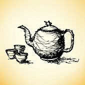 stock photo of teapot  - sketch drawing of teapot with cup vector  - JPG