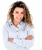 Confident casual woman smiling - isolated over a white background