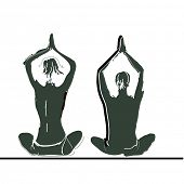 Vector illustration: Young couple practicing yoga on the sea beach at sunset.
