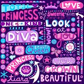 Princess Fairy Tale Diva Word Doodles Lettering with Tiara, Crown, and Diamond- Hand Drawn Vector Il