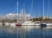 France, Cote d'Azur, in October 2013. Ships in the port of the old French town of Antibes