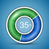 Circular progress bar. Easy to edit and customize vector illustration of round progress bar on blue