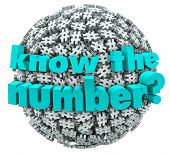 The words Know the Number on a ball or sphere of hashtags or pound signs to illustrate a customer service phone number or answer to a math question