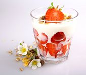 Strawberry With Yogurt In Glass And Cereal