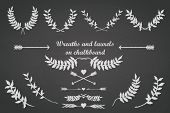 stock photo of bridal shower  - Chalkboard set for any occasion with laurels - JPG