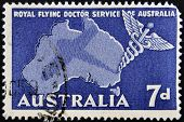 A stamp shows Royal Flying Doctor Service of Australia Caduceus and Map of Australia
