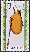 A stamp printed in Bulgaria dedicated to Bulgarian folk music instrument shows a bagpipe