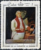 A stamp shows painting of J. Del Rio - Portrait of Salvador del Muro, Museum of city Havana