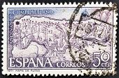 A stamp printed in Spain shows map with the routes of the Camino de Santiago