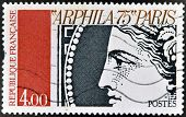 postage stamp shows a detail of the goddess Ceres stamp in Corrientes arphila 75 Paris