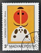 stamp printed in Hungary dedicated to Modern Arts Paintings shows Mike by Desi Korniss