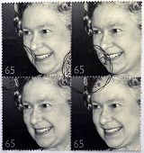 A stamp printed in Great Britain shows shows Queen Elizabeth II golden jubilee