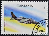A stamp printed in Tanzania shows Low - Flying attack aircraft