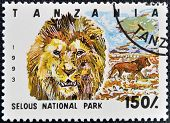 Stamp printed in Tanzania dedicated to selous national park shows lion