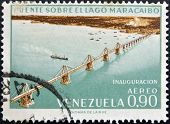 A stamp printed in Venezuela shows inauguration of the bridge over Lake Maracaibo