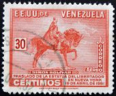 A stamp printed in Venezuela showing a Equestrian statue of Simon Bolivar