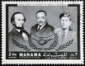 Stamp printed in Ajman in memory of Martin Luther King Human Rights