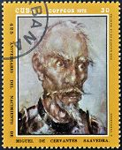 A stamp printed in Cuba shows portrait of Don Quijote De La Mancha