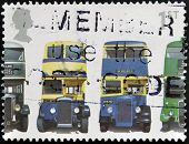 A stamp shows AEC Regent 1 Daimler COG5 Utility Guy Arab Mk II and AEC Regent III RT Type