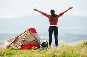 Teenage Girl On Camping Trip In Countryside