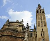 Seville Cathedral and La Giralda bell tower in Spain