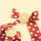 Star Shape Chrismtas Gingerbread. Tie Red With Dots